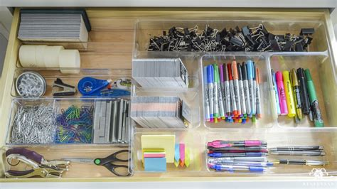 Organized And Functional Office Supply Drawers Kelley Nan Office Desk Organization Supplies