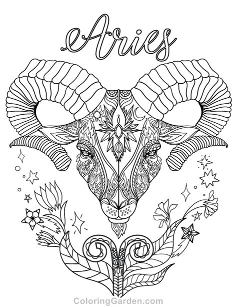 printable zodiac coloring pages free printable zodiac adult coloring page featuring aries
