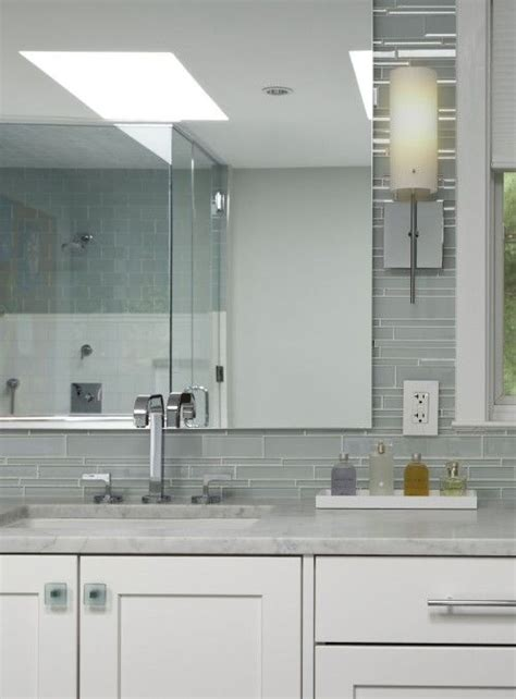 gray glass mosaic tiled backsplash transitional bathroom bathrooms gray glass tiles linear backsplash white