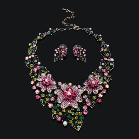 how to make flower jewelry flower jewelry antique cz flower necklace earrings set