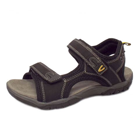 black sandals camel active freddi mens velcro fastening comfortable