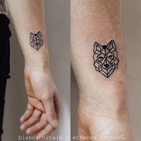 small detailed tattoo geometric wolf animal small tiny
