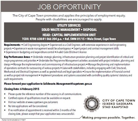 city  cape town head civil engineer solid waste management  utility services city