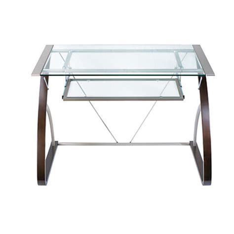 Office Max Glass Desk Realspace Merido Computer Desk Espressosilver By Office Depot Officemax