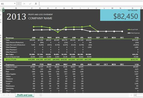 profit loss statements  excel onsite software