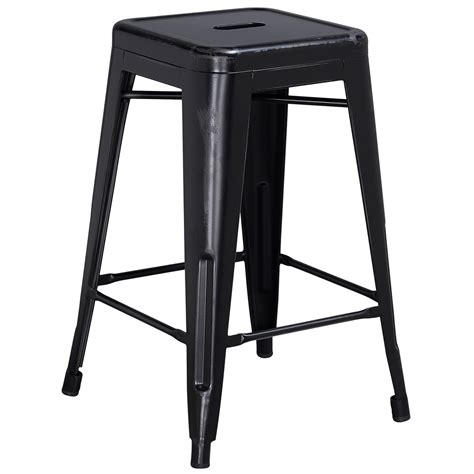 Black Metal Counter Height Stools by Distressed Black Stackable Metal Counter Height Stool With