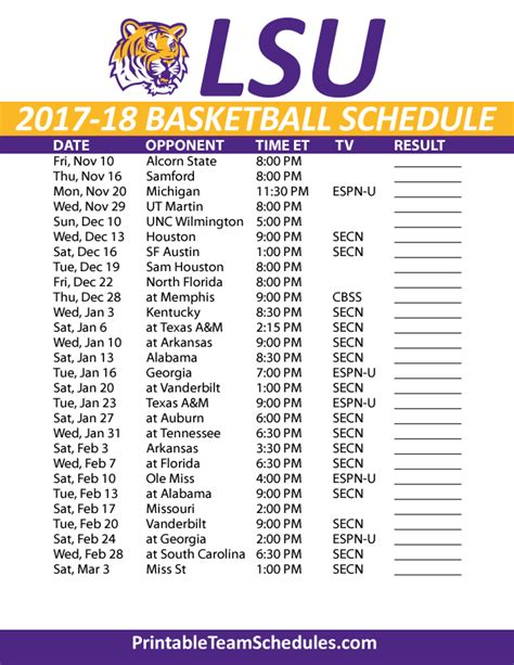 Lsus Mba Program Class Schedule 2017 by Printable Lsu Basketball Schedule 2017 18
