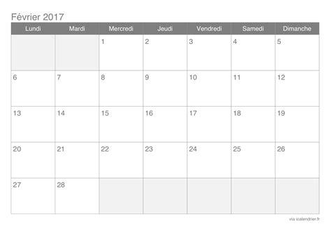 Calendrier F2vrier 2018 Calendrier F 233 Vrier 2017 224 Imprimer Icalendrier