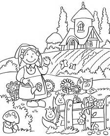my house and the flower garden coloring pages