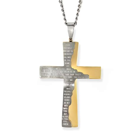 stainless steel two tone cross pendant