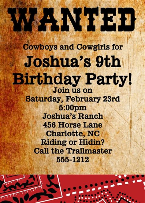 wanted poster western birthday invitations