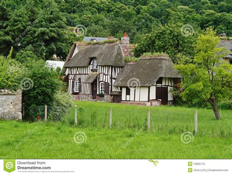 Normandy Cottages by Traditional Timber Framed Normandy Cottages Stock Photo