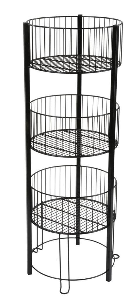 three tier floor l tiered basket floor stand standing wire retail bin