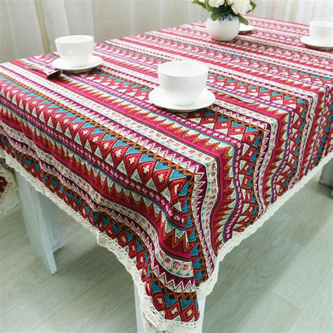 European Style Quality Cotton Linen Lacework Dining Patio Table Tablecloths