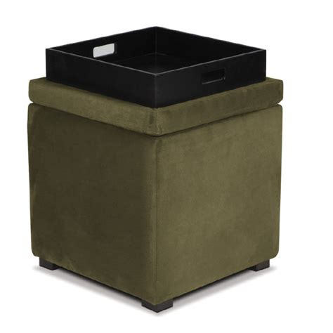 leather cube ottoman with tray avenue six detour storage cube ottoman with tray olive