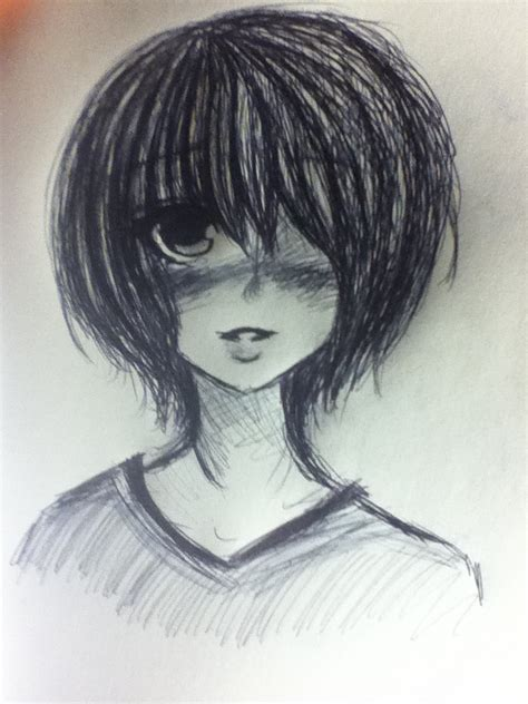drawing of bob hair short hair girl ink sketch by ladydeathcandy on deviantart