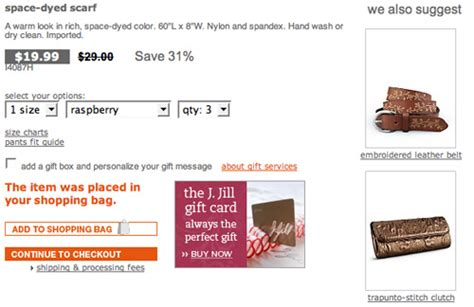 J Jill Gift Card - cross selling tips for online retailers