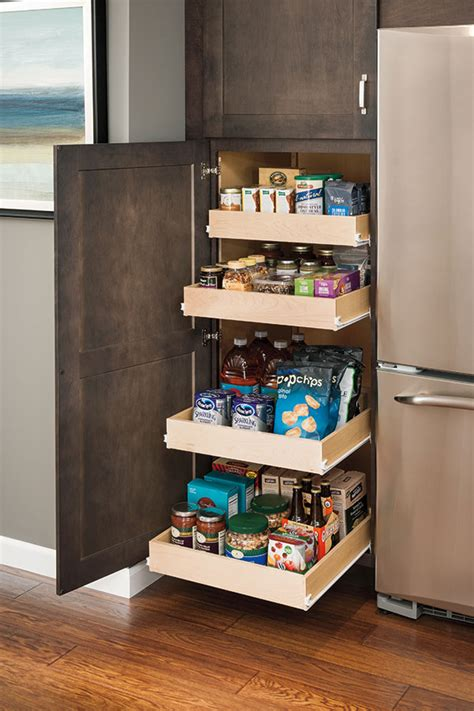 Enclosed Pantry Cabinet Utility Cabinet With Roll Trays Aristokraft Cabinetry