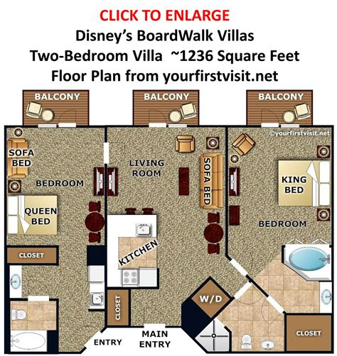boardwalk 2 bedroom villa disney s boardwalk villas two bedroom villa floor plan from yourfirstvisit net