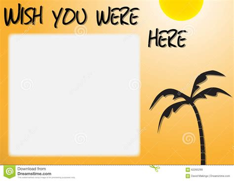 wish you were here postcard template wish you were here stock illustration image 62265299