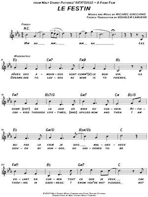 ratatouille song quot le festin quot from ratatouille sheet music download print