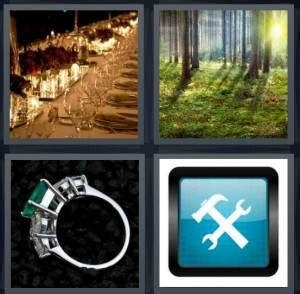 4 pics 1 word answer for glasses forest ring tools