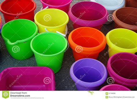Flower Tubs For Sale Colourful Plastic Buckets And Pots Stock Photo Image