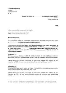 lettre de demande de radiation du fichier des incidents de