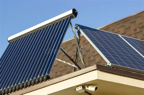 domestic solar panels domestic solar panel on a roof with clear cloudless sky stock image image of future clouds