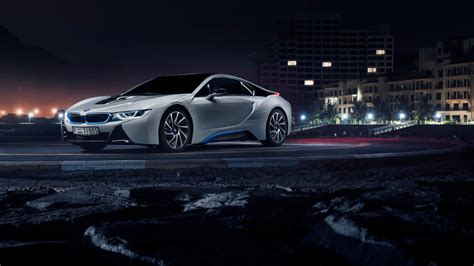 bmw i8 wallpaper hd at night hd background bmw i8 in white color side view night