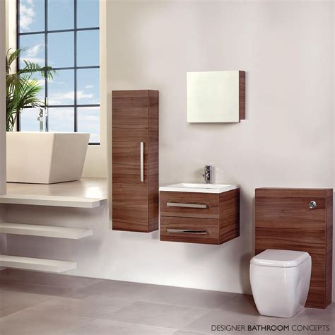 aquatrend designer mirrored bathroom cabinet walnut