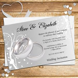 10 personalised wedding invitations day evening n44 silver rings