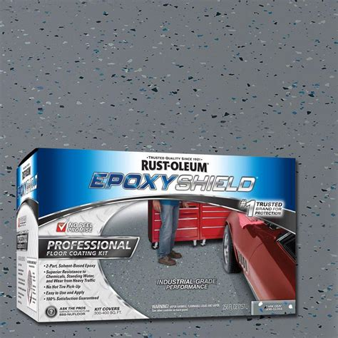 1 gal semi gloss 2 part epoxy garage floor coating kit rust oleum epoxyshield 2 gal gray semi gloss