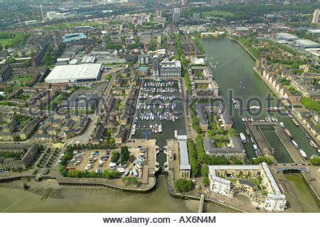 aerial view of greenland dock in the rotherhithe area of
