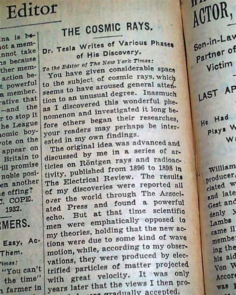 Tesla Cosmic Rays 1932 Nikola Tesla Of Radio Rarenewspapers
