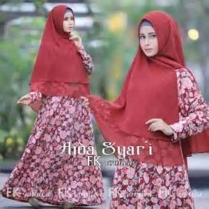 Maxi Aida Maroon gamis syari aida bunga a082 baju muslim cantik pesta