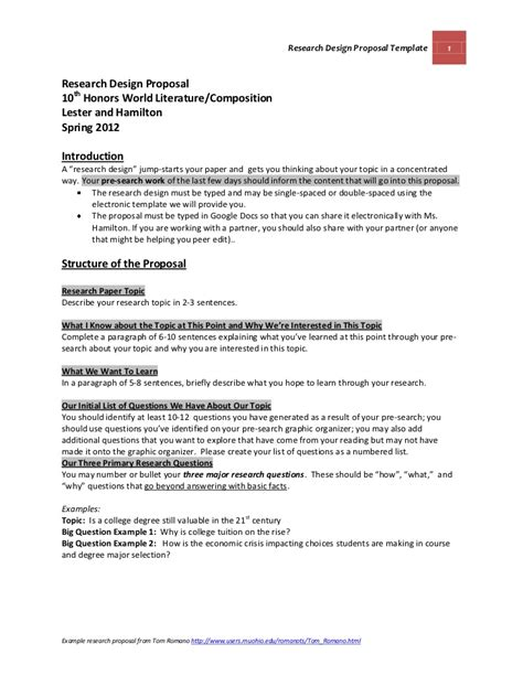Research Design Grant Proposal | official research design proposal template and guidelines