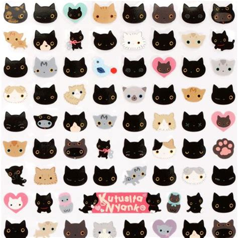 printable cat stickers cute small kutusita nyanko sticker san x cat heads