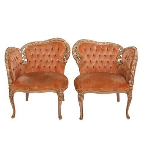 coral tufted ottoman 19th century french coral velvet tufted side chairs a