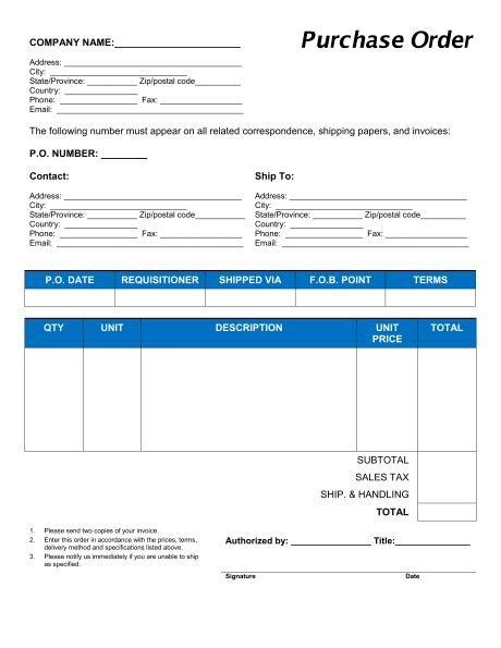 purchase order template doc purchase order template sle form biztree