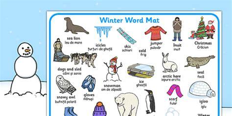 Winter Word Mat by Winter Word Mat Eal Translation Winter