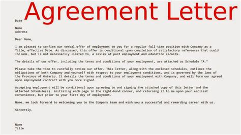 Letter Of Agreement Or Contract Exles Agreement Letters Sles Business Letters