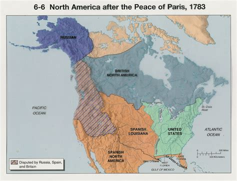 america map in 1783 american territorial distribution after the peace of