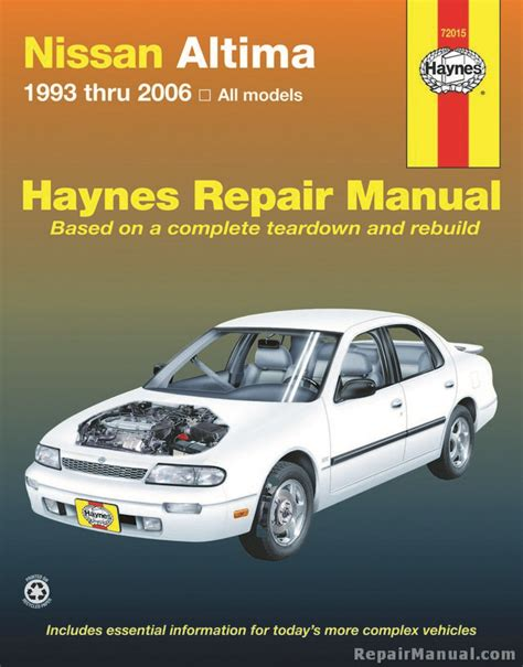 car manuals free online 2001 nissan sentra parking system haynes nissan altima 1993 2006 auto repair manual