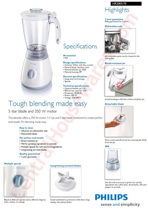 Philips Blender Glass Hr 2071 2l philips home appliances