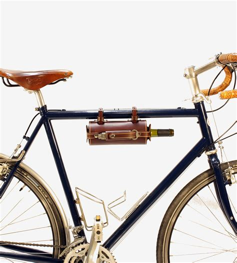 leather bike bicycle mounted leather wine carrier with opener