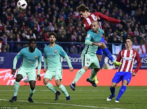 barcelona griezmann atletico madrid 1 2 barcelona suarez and messi on target