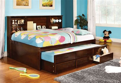 bookcase headboard bed with drawers cherry finish captain size bed w trundle 3 drawers