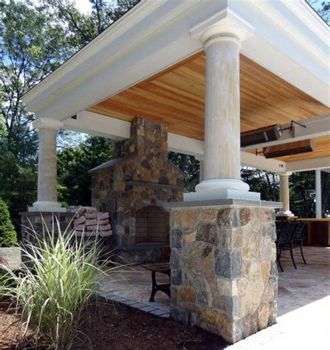 Foundation For Outdoor Fireplace by Pool Houses Covered Patios And Fireplaces On