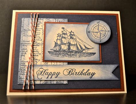 Mens Handmade Cards - stin up handmade card masculine birthday card nautical